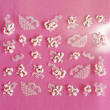 1 pcs 3D Tırnak Çıkartması Sevimli tırnak sanatı Manikür pedikür Günlük Çiçek / Moda / 3D Çivi Çıkartmaları