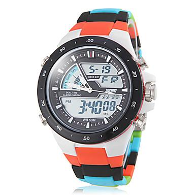 SKMEI Erkek Spor Saat Quartz Japon Kuvartz LCD Takvim Kronograf Su Resisdansı Çift Zaman Bölmeli alarm Plastic Bant Çok-Renkli