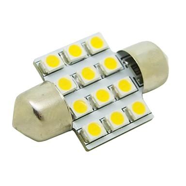 31mm 1W 12x3528 SMD 50lm 2800 ~ 3200K Araba Festoon Dome Okuma Lambası (DC 12V) için Sıcak Beyaz Işık LED Ampul