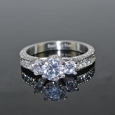 ieftine Inele-Pentru femei Inel Diamant sintetic / moissanite Argintiu Teak / Zirconiu / Zirconiu Cubic Rotund femei / Lux / de Mireasă Nuntă / Petrecere / Zilnic Costum de bijuterii / Solitaire