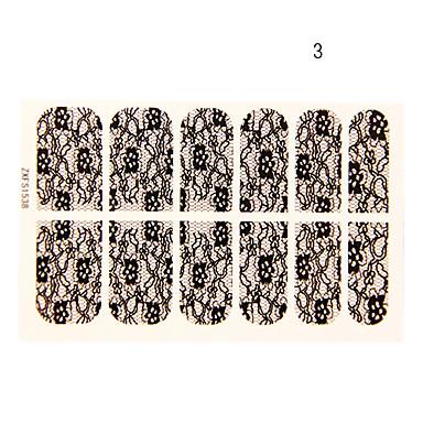 Altı Yapraklı 12pcs Çiçek Black Lace Nail Art Etiketler No.3 Şekli