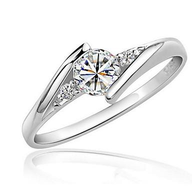 ieftine Inele-Pentru femei Diamant sintetic Inel inel de înfășurare Solitaire Rundă HALO Iubire Declarație femei Elegant Zirconiu Zirconiu Cubic Placat cu platină Inele la Modă Bijuterii Argintiu Pentru Nunt