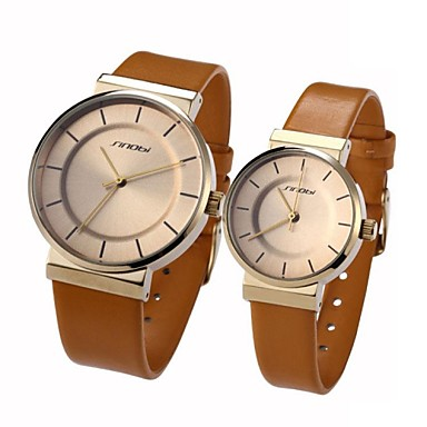 SINOBI Couple's Round Gold Case Leather Band Quartz Analog Wrist Watch (Assorted Colors)