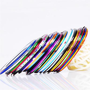 12 pcs Tırnak Folyo Çizgi Bant tırnak sanatı Manikür pedikür Günlük Soyut / Moda / Folyo sıyırma bandı