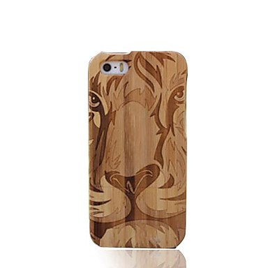 Handmade Lion Face închis Bamboo Wood protecție caz acoperire pentru iPhone 5/5