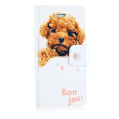 Pour Coque iPhone 5 Etuis coque Porte Carte Avec Support Clapet Motif Coque Intégrale Coque Chien Dur Cuir PU pour iPhone SE/5s iPhone 5