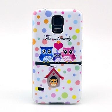 Samsung Galaxy S5 I9600 için oldukça Baykuş Aile Karikatür Desen TPU Kılıf Kapak