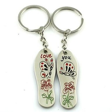 (2 PC) Beautiful Fashion Brant Creative Butterfly Lovers flori High-Grade Stainless Stee keychain