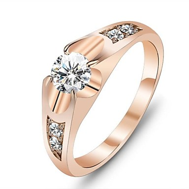 61fc55822 Women's Diamond Statement Ring Solitaire Round Cut Love Ladies Unique Design  Rose Gold Cubic Zirconia Gold