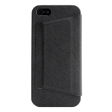 Litchi Grain PU Leather Case with Stand for iPhone 5/5S