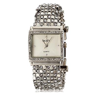 ASJ Kadın's Bilezik Saat Japonca imitasyon Pırlanta Paslanmaz Çelik Bant Günlük / Zarif Gümüş