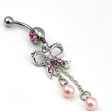 Kadın Vücut Mücevheri Navel & Bell Button Rings lüks mücevher İnci İmitasyon İnci Simüle Elmas Pembe İnci Bowknot Shape Mücevher Uyumluluk