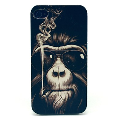 IPhone 4/4S için Smoking Monkey Desen Hard Case