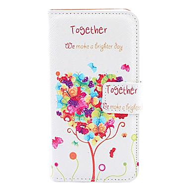 Capa Inteiriça Árvore de Amor em Couro Sintético com Compartimento para Cartões iPhone 5/5S