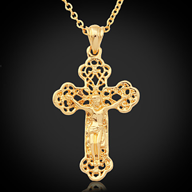 Women's Cross Gold Plated 18K Gold Pendant Necklace Vintage Necklace  -  Fashion Necklace For Special Occasion Birthday Gift