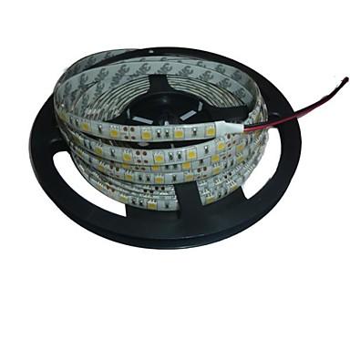 5m Esnek LED Şerit Işıklar 300 LED'ler 5050 SMD Beyaz Kesilebilir / Su Geçirmez / Bağlanabilir 12 V / IP65 / Kendinden Yapışkanlı