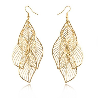 Women's Drop Earrings Long Hollow Statement Jewelry Elegant European Alloy Leaf Jewelry Black Silver Golden Wedding Party Daily Casual