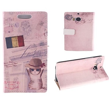 Cat Hat with The Flag Design PU Full Body Case with Card Slot for HTC One M8