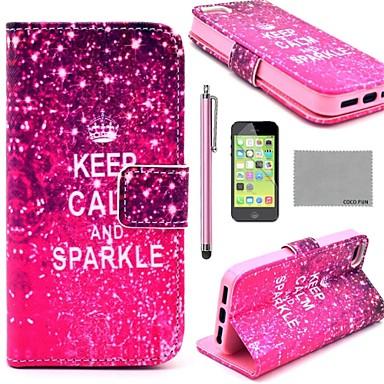 COCO FUN ® Calm Sparkle model PU piele Full Body caz cu ecran protector, Stylus și Stand pentru iPhone 5C