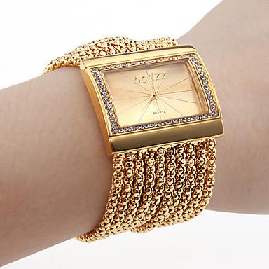 Dam Quartz Armbandsklocka Japanska Strass Diamant Imitation Koppar Band Lyx Glittriga Elegant Guld