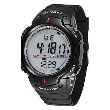 Erkek Spor Saat Bilek Saati Dijital Su Resisdansı Alarm Takvim Kauçuk Bant Dijital Siyah - Siyah İki yıl Pil Ömrü / Kronograf / LED / LCD / Kronometre / Maxell CR2025