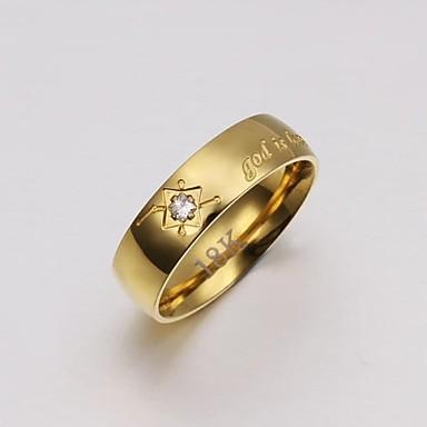 Erkek Lüks Kristal / Altın Kaplama Band Yüzük - Lüks Altın halka Uyumluluk Düğün / Parti / Günlük