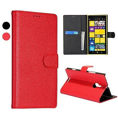 Için Nokia Kılıf Cüzdan / Kart Tutucu / Satandlı Pouzdro Tam Kaplama Pouzdro Solid Renkli Sert PU Deri Nokia Nokia Lumia 1520