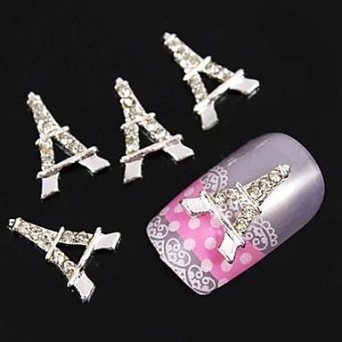 10pcs gümüş Eyfel diy taklidi aksesuarları tırnak sanat dekorasyon kule