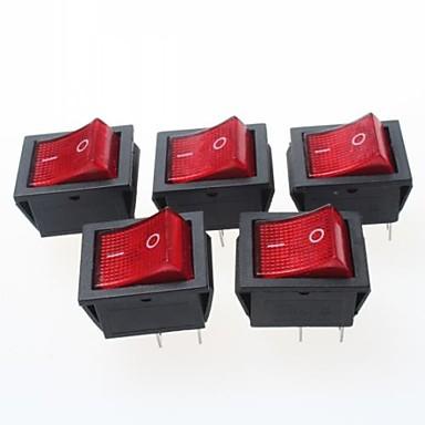 4-контактный рокер выключатели с красной световой индикатор 15а 250VAC (5 шт Pack)