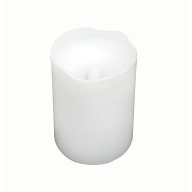 Çift zamanlayıcı ile beyaz renk plastik alevsiz mum (led mum)