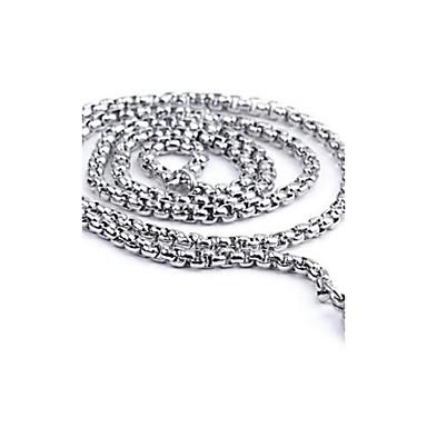 Недорогие Модные ожерелья-Ожерелья-цепочки Титановая сталь На заказ Мода Серебряный Ожерелье Бижутерия Назначение Повседневные