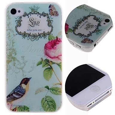 pássaros dos desenhos animados amor estojo rígido padrão para iphone 4 / 4s