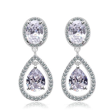 mode gnistrande cz halo tår silver droppe bröllop örhängen för kvinnor  diamant smycken d0b60b2bd2b75