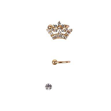 Punhos da orelha Brincos Set Jóias de Luxo Strass imitação de diamante Liga Formato Coroa Jóias ParaCasamento Festa Diário Casual