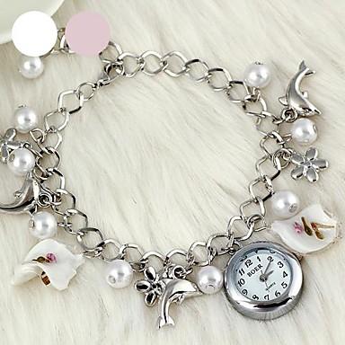 Femme Montre Tendance Montre Bracelet Bracelet de Montre Quartz Alliage Bande Elégantes Blanc Rose Blanc Rose