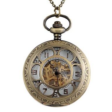 Bărbați Ceas de buzunar ceas mecanic Mecanism manual Gravură scobită Aliaj Bandă Bronz Bronz