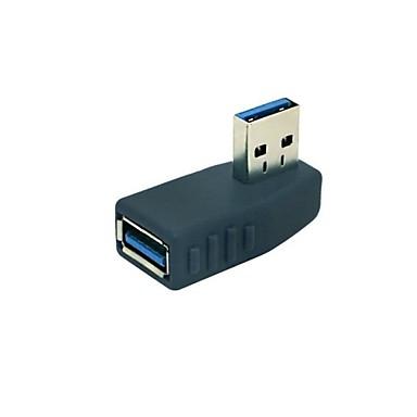 USB 3.0 de 90 de grade unghi de sex masculin la feminin adaptor negru