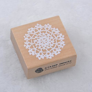 5cm x 5cm vierkante romantische bloemen patroon houten stempels