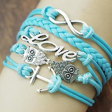 Damen Mehrschichtig Wickelarmbänder - Eule, Liebe, Anker Europäisch, Modisch, Mehrlagig Armbänder Blau Für Alltag / Normal