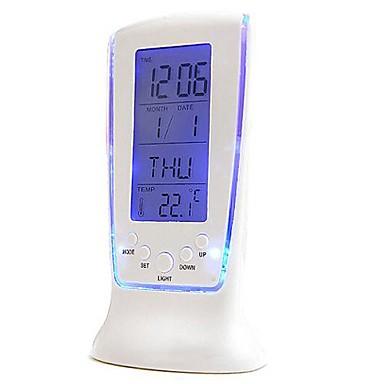 luxo relógio eletrônico LED tela colorida termômetro relógio de repetição do alarme luz noturna preguiçoso