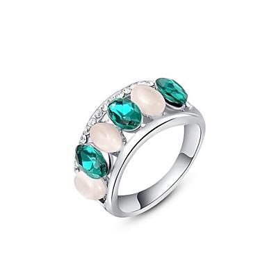 edele en elegante partij sieraden 18k vergulde platina glanzende groene kleur oostenrijk kristal opaal vinger ring