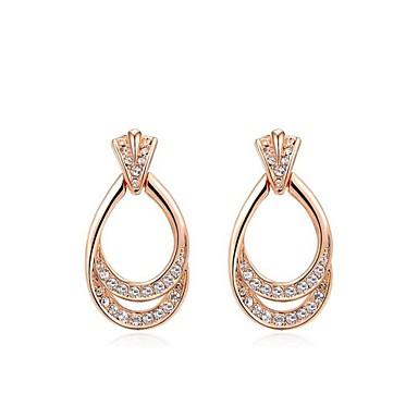 Γυναικεία Κρύσταλλο Επιχρυσωμένο Κρεμαστά Σκουλαρίκια - Ασημί Χρυσαφί Σκουλαρίκια Για Γάμου Πάρτι Καθημερινά