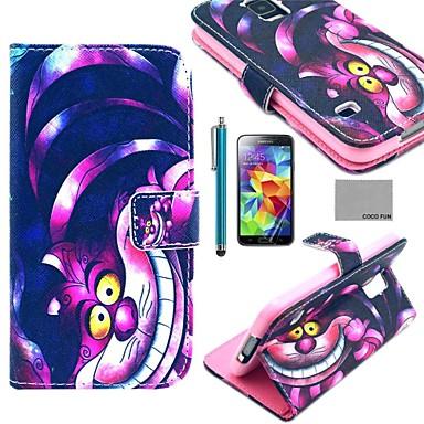 coco fun® violet model desen animat pisică pu caz din piele cu protector de ecran, stylus si suport pentru Samsung s5 mini G800