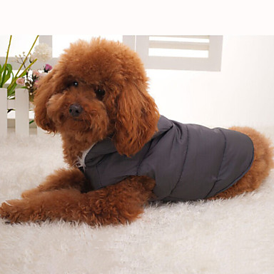 Dog Coat Hoodie Vest Puffer / Down Jacket Dog Clothes Solid Colored Black Cotton Down Fur Costume For Pets Winter Men's Women's Keep Warm