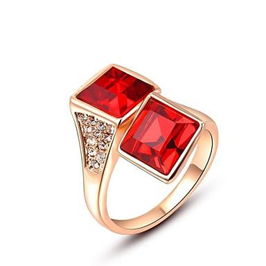 ευγενή και κομψό 18k αυξήθηκε επιχρυσωμένο λαμπερό κόκκινο τετράγωνο Αυστρία κρύσταλλο διαμάντι ρουμπίνι δαχτυλίδι δάχτυλο