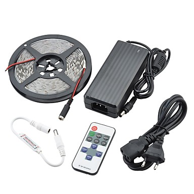 ZDM® 5m Işık Setleri 300 LED'ler 5630 SMD 1 12V 6A Adaptör / 1 11Keys Uzaktan Kumanda / 1 DC Kablo Sıcak Beyaz Su Geçirmez / Kesilebilir / Araçlar İçin Uygun 12 V 1set / IP65 / Kendinden Yapışkanlı