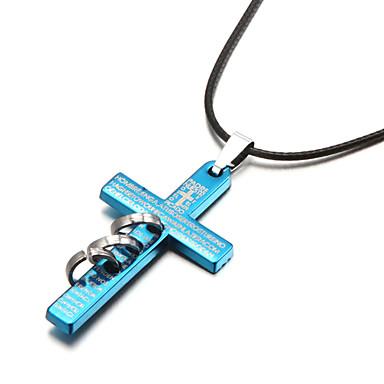 Croix Forme Pendentif de collier Cuir Plaqué argent Alliage Pendentif de collier Soirée Sports