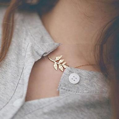 Kadın's Gerdanlıklar - Leaf Shape minimalist tarzı, Moda Altın Kolyeler Mücevher Uyumluluk Günlük
