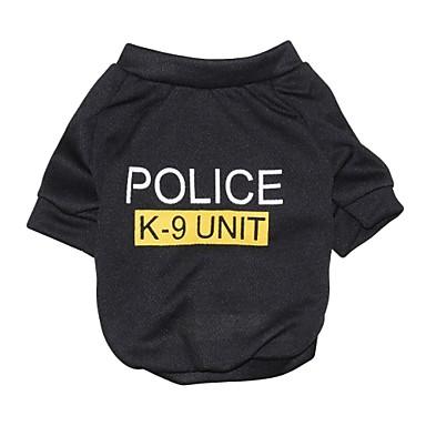 Kedi Köpek Tişört Köpek Giyimi Harf & Sayı Polis/Ordu Siyah Pamuk Kostüm Evcil hayvanlar için Erkek Kadın's Moda
