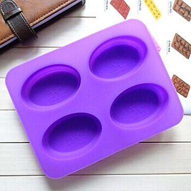 4 hole ellipsvorm cakevorm ijs gelei chocoladevorm, siliconen 22,3 × 17 × 2 cm (8,8 × 6,7 × 0,8 inch)